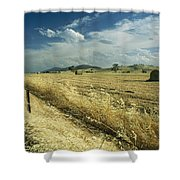 A Hay Field With Bales Sitting Shower Curtain
