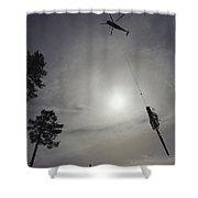 A Helicopter Lifts Cut Timber Shower Curtain