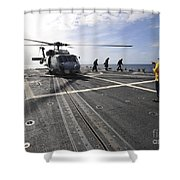 A Helicpter Sits On The Flight Deck Shower Curtain