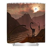 A Herd Of Omeisaurus Dinosaurs Shower Curtain
