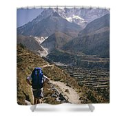 A Hiker With A Mountain Range Shower Curtain