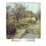 A Hill Farm Symondsbury Dorset Shower Curtain by Helen Allingham