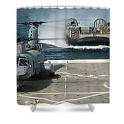 A Hovercraft Approaches Uss New Orleans Shower Curtain