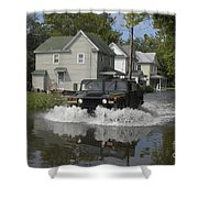 A Humvee Drives Through The Floodwaters Shower Curtain