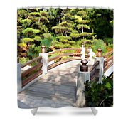 A Japanese Garden Bridge From Sun To Shade Shower Curtain