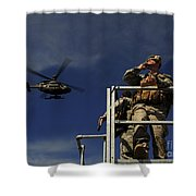 A Joint Terminal Attack Controller Shower Curtain