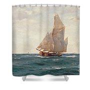 A Ketch And A Brigantine Off The Coast Shower Curtain