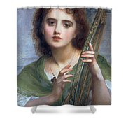 A Lady With Lyre Shower Curtain