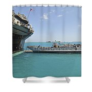 A Landing Craft Utility Approaches Shower Curtain