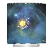 A Large Sun Is Veiled By Surrounding Shower Curtain
