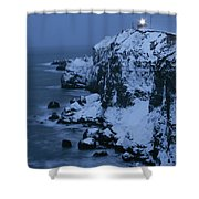 A Lighthouse Atop Snow-covered Cliffs Shower Curtain