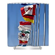 A Line Of Flags Represent The Countries Shower Curtain