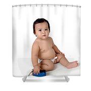 A Little Girl Sit With A Vintage Camera Shower Curtain