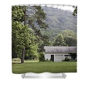 A Little White House Shower Curtain