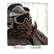 A Loadmaster Protects His Head Shower Curtain
