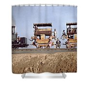 A Locomotive And Two Coaches Shower Curtain