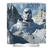 A Lone Astronaut Stares At A Statue Shower Curtain