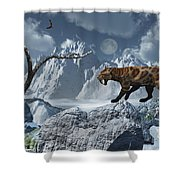 A Lone Sabre-toothed Tiger In A Cold Shower Curtain by Mark Stevenson