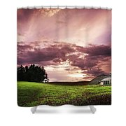 A Lonely Farm Building In An Open Field Shower Curtain