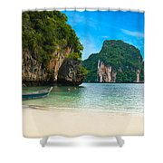 A Long Tail Boat By The Beach In Thailand  Shower Curtain
