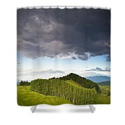 A Lush Green Landscape With Grassy Shower Curtain