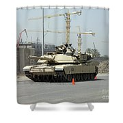 A M1 Abram Sits Out Front Of The New Shower Curtain