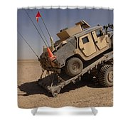 A M1114 Armored Vehicle Is Unloaded Shower Curtain