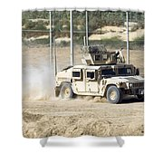 A M1114 Humvee Patrols The Perimeter Shower Curtain