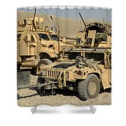 A M1114 Humvee Sits Parked In Front Shower Curtain