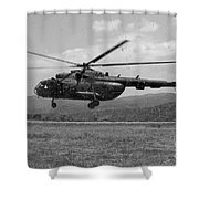 A Macedonian Mi-17 Helicopter Landing Shower Curtain