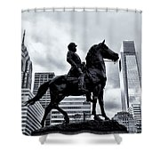 A Man A Horse And A City Shower Curtain