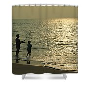 A Man And A Young Boy Fish In The Surf Shower Curtain