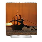 A Man And An Outrigger Silhouetted Shower Curtain