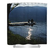A Man And His Dog On A Lake Skaha Dock Shower Curtain