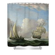 A Man-o'-war In A Swell And A Sailing Boat Shower Curtain