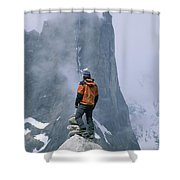 A Man Stands On A Cliff Watching Shower Curtain
