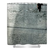 A Man Walked Visible From Above Shower Curtain