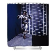 A Man Walks A Wall In A Special Harness Shower Curtain