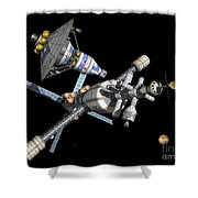 A Manned Mars Landerreturn Vehicle Shower Curtain