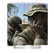 A Marine Communicates With Aircraft Shower Curtain