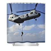 A Marine Fast Ropes From A Ch-46e Sea Shower Curtain