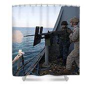 A Marine Fires A .50-caliber Machine Shower Curtain