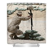 A Marine Hangs Dog Tags On The Rifle Shower Curtain
