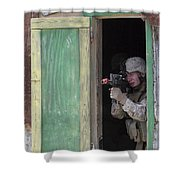 A Marine Posts Security Out Of A Window Shower Curtain