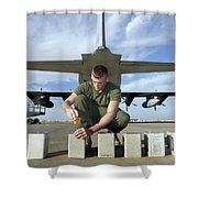 A Marine Replaces Flares In Flare Shower Curtain