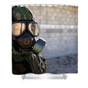 A Marine Wearing A Gas Mask Shower Curtain