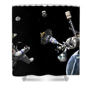 A Mars Cycler Travels By The Earth Shower Curtain