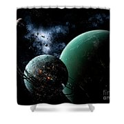 A Massive Space Station Orbits A Large Shower Curtain