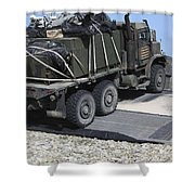 A Medium Tactical Vehicle Replenishment Shower Curtain