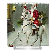 A Merry Christmas Card Of Santa Riding A White Horse Shower Curtain